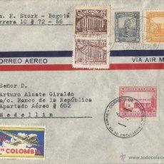 Sellos: COLOMBIA CORREO AEREO - 1945 - HISTORIA POSTAL SOBRE COMERCIAL VOLADO DESDE BARRANQUILLA A MEDELLIN.. Lote 53418431