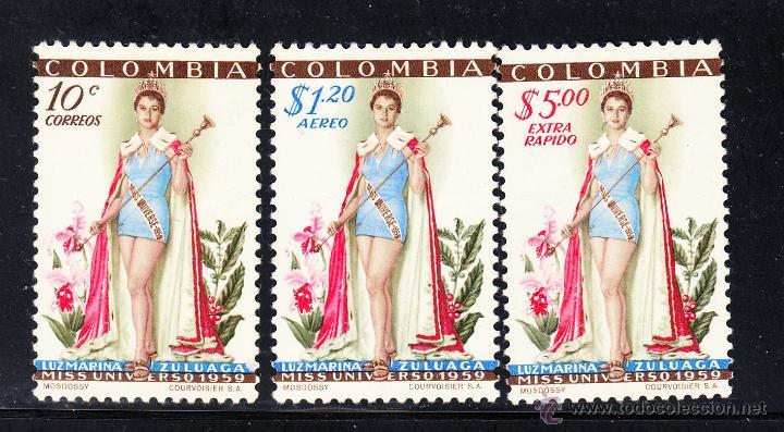 COLOMBIA 563 Y AÉREO 315/16* - AÑO 1959 - LUZ MARINA ZULUAGA, MISS UNIVERSO 1959 (Sellos - Extranjero - América - Colombia)
