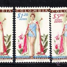 Sellos: COLOMBIA 563 Y AÉREO 315/16* - AÑO 1959 - LUZ MARINA ZULUAGA, MISS UNIVERSO 1959. Lote 54055415