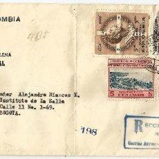 Sellos: COLOMBIA 1957 CORREO INTERIOR CERTIFICADO DE CIENAGA A BOGOTA. Lote 58329044