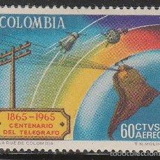 Sellos: COLOMBIA AEREO 470, CENTENARIO DEL TELEGRAFO Y SATELITES SOBRE SUDAMERICA, NUEVO *** . Lote 59920439