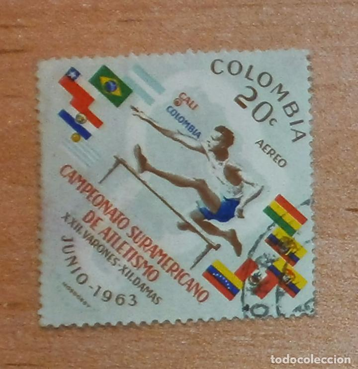 SG SELLO CAMPEONATO SURAMERICANO DE ATLETISMO COLOMBIA 1963 - CIRCULADO - AÉREO (Sellos - Extranjero - América - Colombia)