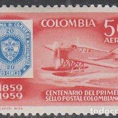 Sellos: COLOMBIA 871, CENTENARIO DEL SELLO COLOMBIAN, TRANSPORTE POSTAL EN AVIÓN NUEVO CON SEÑAL DE CHARNELA. Lote 64710671