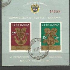 Sellos: COLOMBIA HOJA BLOQUE YVERT NUM. 28 USADA. Lote 66615622