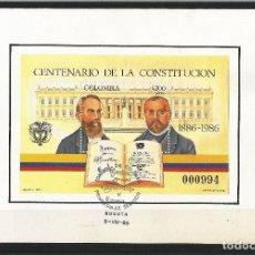 Sellos: COLOMBIA. 1986 HOJA BLOQUE CENTENARIO DE LA CONSTITUCIÓN USADO. Lote 68042045