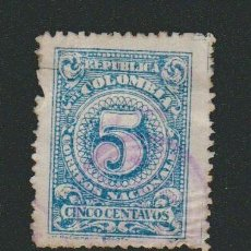 Sellos: COLOMBIA.1908.-5 CENT.YVERT 188.USADO.. Lote 77922201