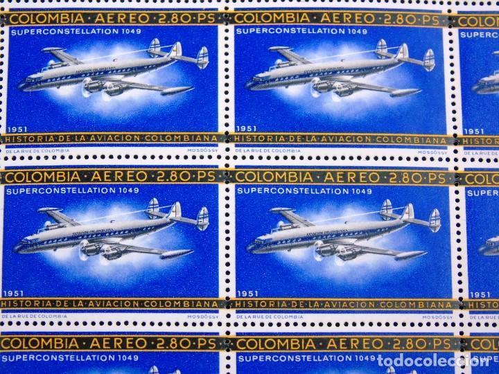 Sellos: COLOMBIA 1965-66 PLIEGO DE 100 SELLOS CORREO AEREO HISTORIA DE LA AVIACION NACIONAL NUEVOS - Foto 2 - 83367404