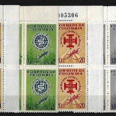 Sellos: COLOMBIA 1962 BLOQUES DE 4 SERIE COMPLETA CORREO ORDINARIO Y CORREO AEREO. Lote 84181756