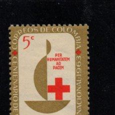 Sellos: COLOMBIA 611** - AÑO 1963 - CENTENARIO DE LA CRUZ ROJA INTERNACIONAL. Lote 241138300