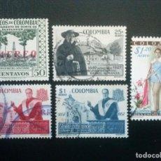 Sellos: COLOMBIA , CORREO AÉREO , YVERT Nº 310 311 313 314 315 , 1958 1959. Lote 86825452