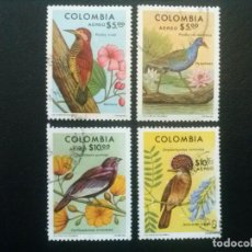Sellos: COLOMBIA , CORREO AÉREO , YVERT Nº 610 - 613 , SERIE COMPLETA AVES FAUNA , 1977. Lote 86833632