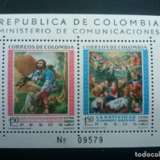 Sellos: COLOMBIA , YVERT HB HOJITA Nº 20 ** SIN CHARNELA ,ALGO DE ÓXIDO, ARTE PINTURA , 1960. Lote 86834180