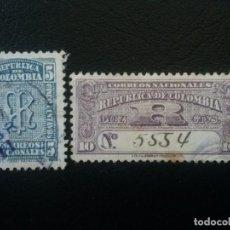 Sellos: COLOMBIA, ACUSE DE RECEPCIÓN, YVERT Nº 52 - 53 SERIE COMPLETA , 1904. Lote 223891858