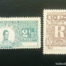Sellos: ANTIOQUÍA , COLOMBIA , CARTAS REGISTRADAS, YVERT Nº 3 - 4 * CHARNELA, SERIE COMPLETA 1899. Lote 86836452
