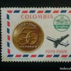 Sellos: COLOMBIA, VIÑETA 50 ANIVERSARIO AVIANCA , . Lote 86838900