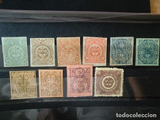 COLOMBIA,1881-1906,LOTE DE SELLOS DE TELEGRAFOS,NUEVOS CON FIJASELLOS,DOS USADOS,(LOTE AB) (Sellos - Extranjero - América - Colombia)