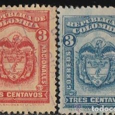 Sellos: COLOMBIA. 1920-6 . 2 VALORES: 3 CENTAVOS . *.MH. Lote 99786463