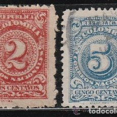 Sellos: COLOMBIA. 1908 . 2 VALORES: 2 & 5 CENTAVOS . *.MH. Lote 99786567