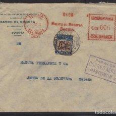 Sellos: CARTA DE BOGOTÁ A JEREZ DE LA FRONTERA CON FRANQUEO MECÁNICO Y SELLO COMPLEMENTARIO. Lote 110979223