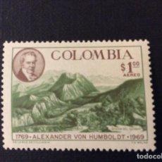 Sellos: COLOMBIA Nº YVERT AEREO 494*** AÑO 1969. BICENTENARIO NACIMIENTO EXPLORADOR ALEXANDER VON HUMBOLT. Lote 179206893