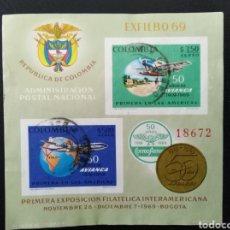 Sellos: COLOMBIA 1969 YVERT BLOCS NUM 31, AVIACIÓN AVIONES. Lote 137618785