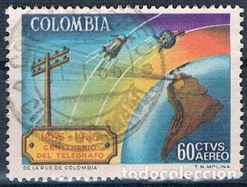 COLOMBIA 1965 SELLO Y PA 450 USADO (Sellos - Extranjero - América - Colombia)