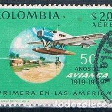Sellos: COLOMBIA 1969 SELLO Y PA 500 USADO. Lote 145137470