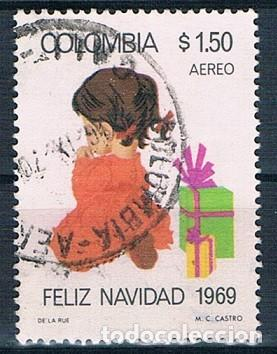 COLOMBIA 1969 SELLO Y PA 504 USADO (Sellos - Extranjero - América - Colombia)