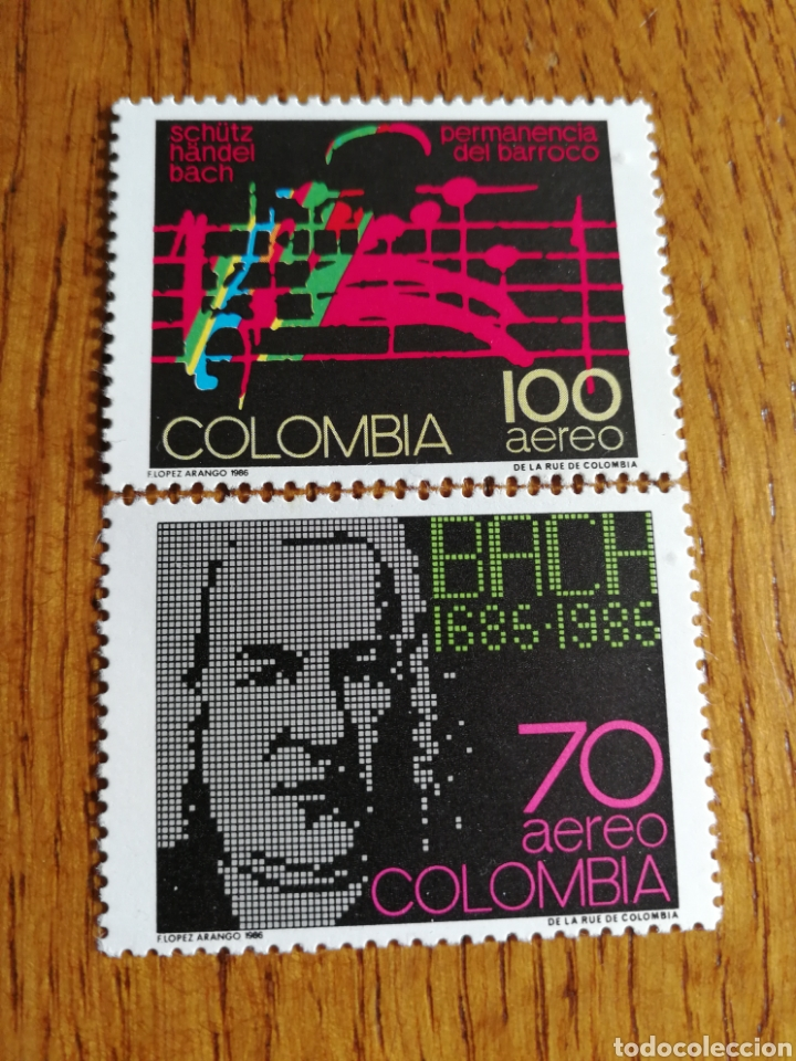 COLOMBIA: YT. 754/55 MNH, MÚSICA, COMPOSITORES, BACH. (Sellos - Extranjero - América - Colombia)