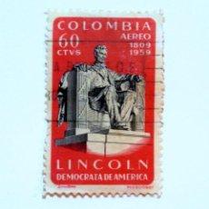 Sellos: SELLO POSTAL COLOMBIA 1960, 60 CTVS, ABRAHAM LINCOLN DEMOCRACIA DE AMERICA 1809-1959, USADO. Lote 161605706