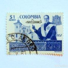Sellos: SELLO POSTAL COLOMBIA 1959, 1 $, 1857-1957 CENTENARIO DE MONS. R.M. CARRASQUILLA, USADO. Lote 161731214