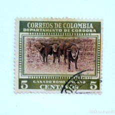 Sellos: SELLO POSTAL COLOMBIA 1956, 5 CTVS, GANADO ROMO , SINUANO, USADO. Lote 161857930