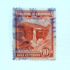 Sellos: SELLO POSTAL COLOMBIA 1948, 10 CTVS, SALTO DE TEQUENDAMA, USADO. Lote 161858270