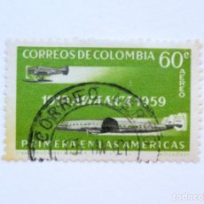 Sellos: SELLO POSTAL COLOMBIA 1959, 60 CTVS, 1919 AVIANCA 1959, AVIONES, USADO. Lote 161862682