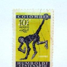 Sellos: SELLO POSTAL COLOMBIA 1961, 10 CTVS, HUMBOLDT CENTENARIO 1759-1859, OVPT AÉREO, USADO, RARO. Lote 161863566