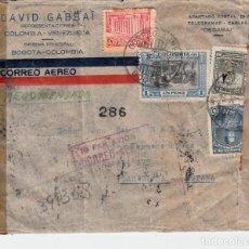 Sellos: SOBRE CIRCULADO DE COLOMBIA A BARCELONA CON CENSURA GUBERNATIVA Y MULTITUD DE MATASELLOS . Lote 162012290