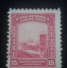 Sellos: CORREOS AEREO COLOMBIA, 15 CENTAVOS SOBREPORTE, 1941,. Lote 179101140