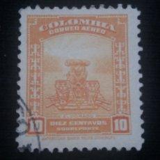 Sellos: CORREOS AEREO COLOMBIA, 10 CENTAVOS SOBREPORTE, 1941, . Lote 179101347