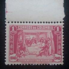 Sellos: CORREOS COLOMBIA, 1 PESO, MUERTE DE SANTANDER, 1940, . Lote 179103395