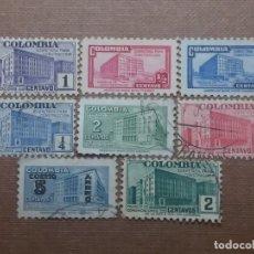 Sellos: CORREOS COLOMBIA, 8 SELLOS, PALACIOS DEL ESTADO, 1940-1952, . Lote 179104475