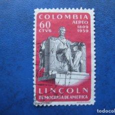 Sellos: -COLOMBIA 1960 ANIV. ABRAHAM LINCOLN, YVERT 364 AEREO. Lote 179535655
