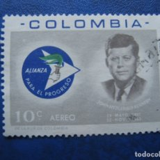 Sellos: -COLOMBIA 1963, MUERTE DE KENNEDY, YVERT 438 AEREO. Lote 179536468