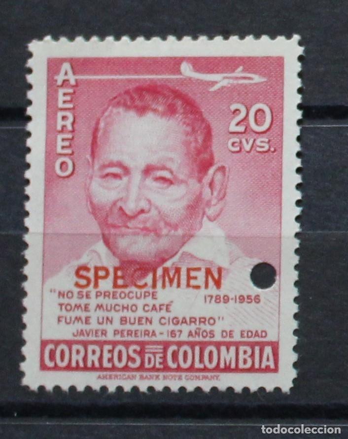 DOS SELLOS COLOMBIA AEREO- NUEVO- JAVIER PEREIRA-SPECIMEN-PRUEBAS-TIRADA MUY CORTA-RARÍSIMO (Sellos - Extranjero - América - Colombia)