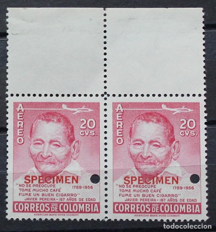 COLOMBIA AEREO- DOS SELLOS NUEVOS- BORDE SUPERIOR-PEREIRA-SPECIMEN-PRUEBAS-TIRADA MUY CORTA-RARÍSIMO (Sellos - Extranjero - América - Colombia)