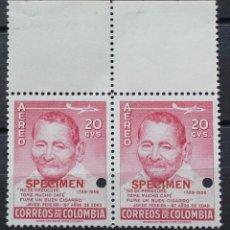 Sellos: COLOMBIA AEREO- DOS SELLOS NUEVOS- BORDE SUPERIOR-PEREIRA-SPECIMEN-PRUEBAS-TIRADA MUY CORTA-RARÍSIMO. Lote 182508842