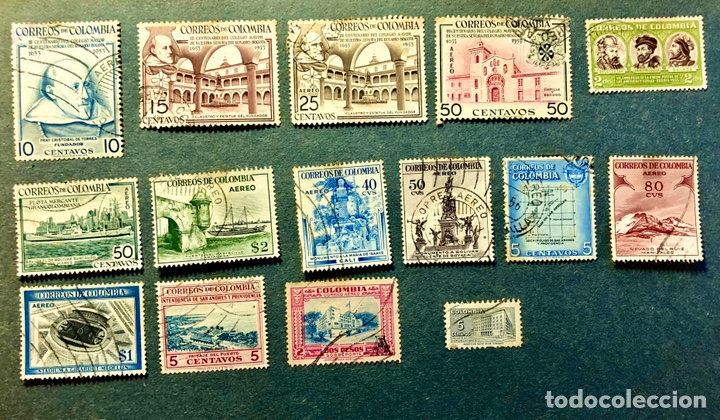 LOTE 15 SELLOS ANTIGUOS DE COLOMBIA (Sellos - Extranjero - América - Colombia)