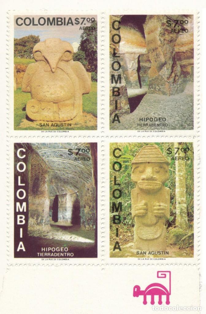 BLOQUE 4 SELLOS TEMA ARQUEOLOGÍA AEREOS - 1981 - NUEVOS (Sellos - Extranjero - América - Colombia)