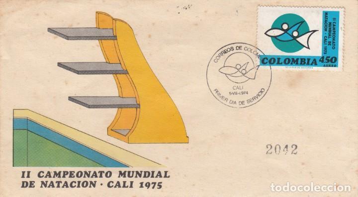 SPD - PRIMER DIA COLOMBIA - II CAMPEONATO MUNDIAL DE NATACIÓN EN CALI - 1975 (Sellos - Extranjero - América - Colombia)