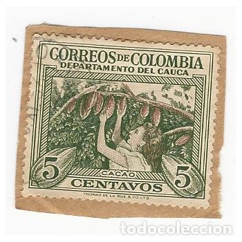 SELLO COLOMBIA DEPARTAMENTO DEL CAUCA CACAO 5 CENTAVOS (Sellos - Extranjero - América - Colombia)