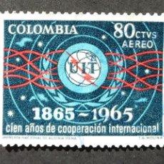 Sellos: 1965 COLOMBIA CENTENARIO UNIÓN INTERNACIONAL TELECOMUNICACIONES. Lote 206825135